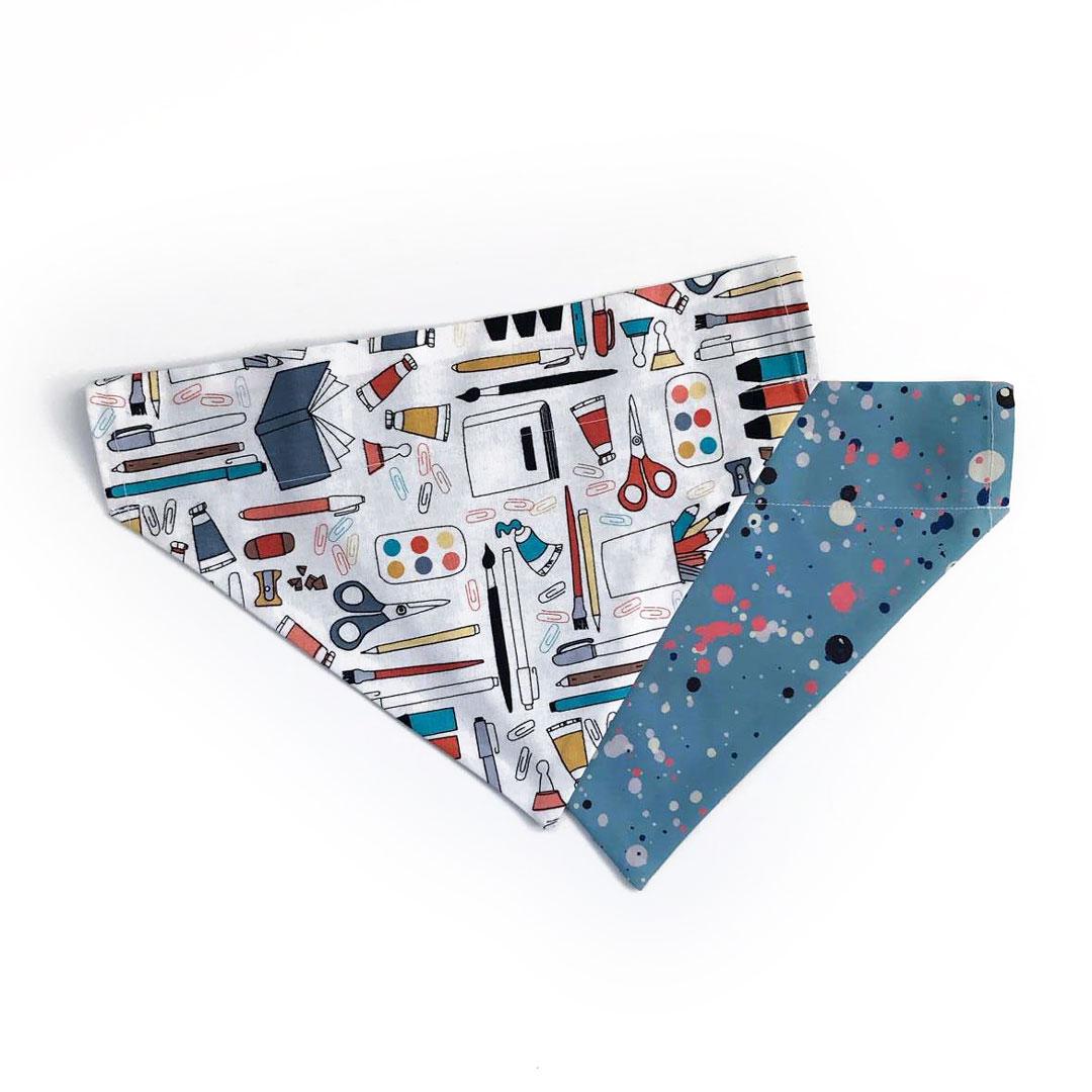 dog bandana with stationery design