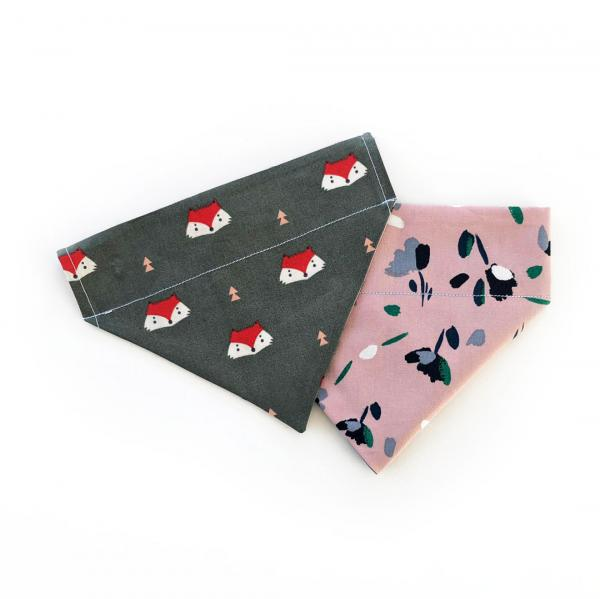 Dog bandana with fox and floral design
