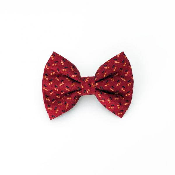 red dog bow tie with pattern