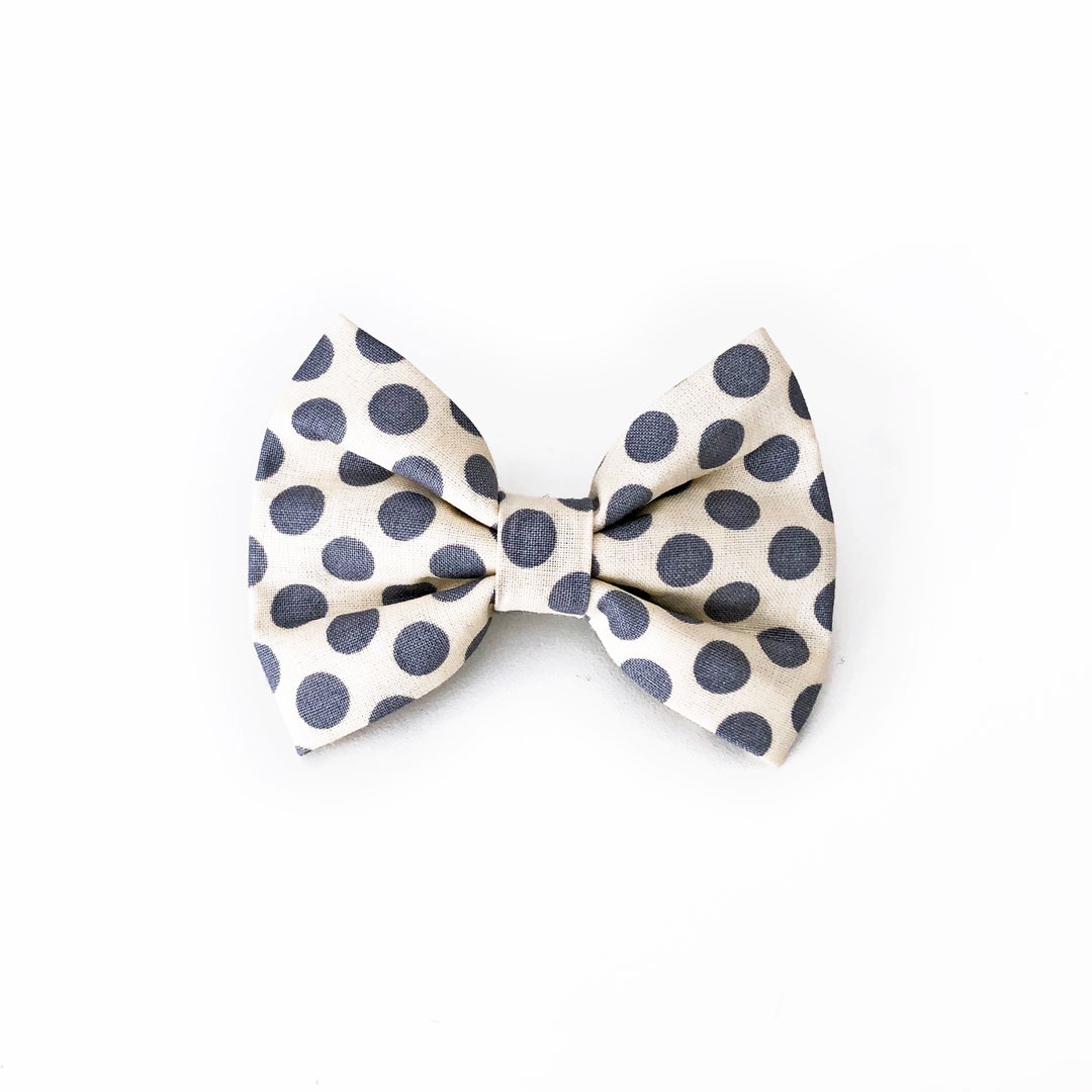 Grey polka dot dog bow tie