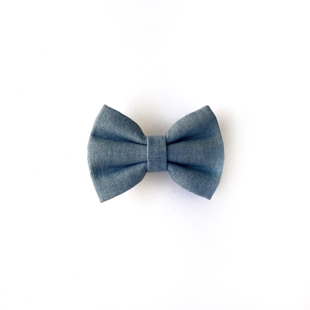 Blue Denim dog bow tie