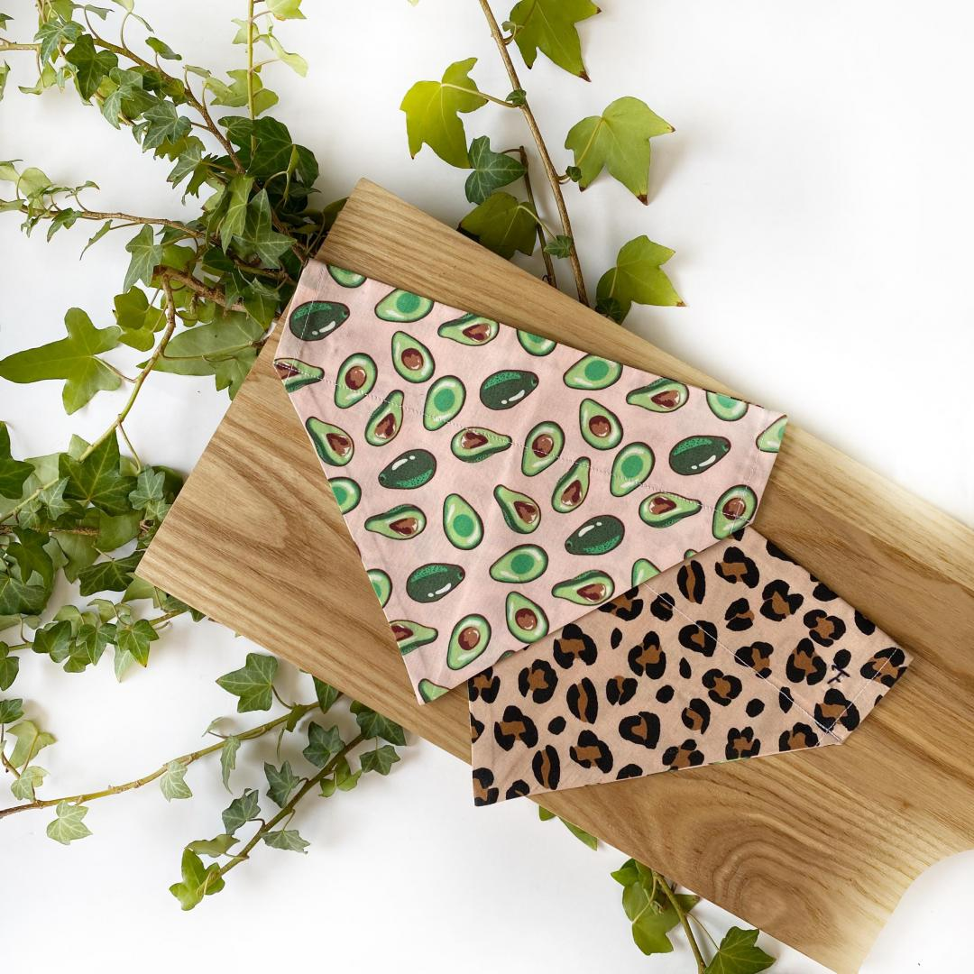 Leopard Print + Avocados bandana styled