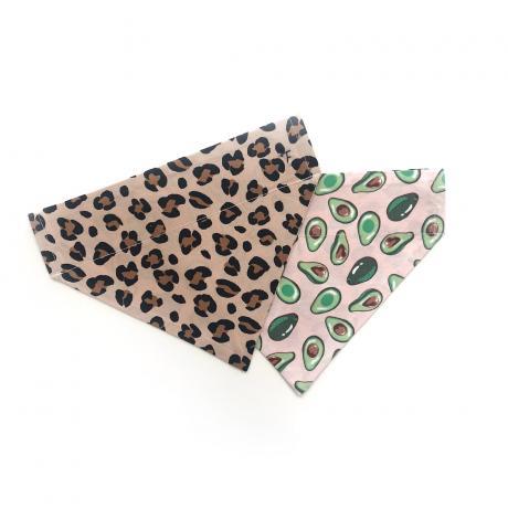 leopard print and avocados reversible dog bandana