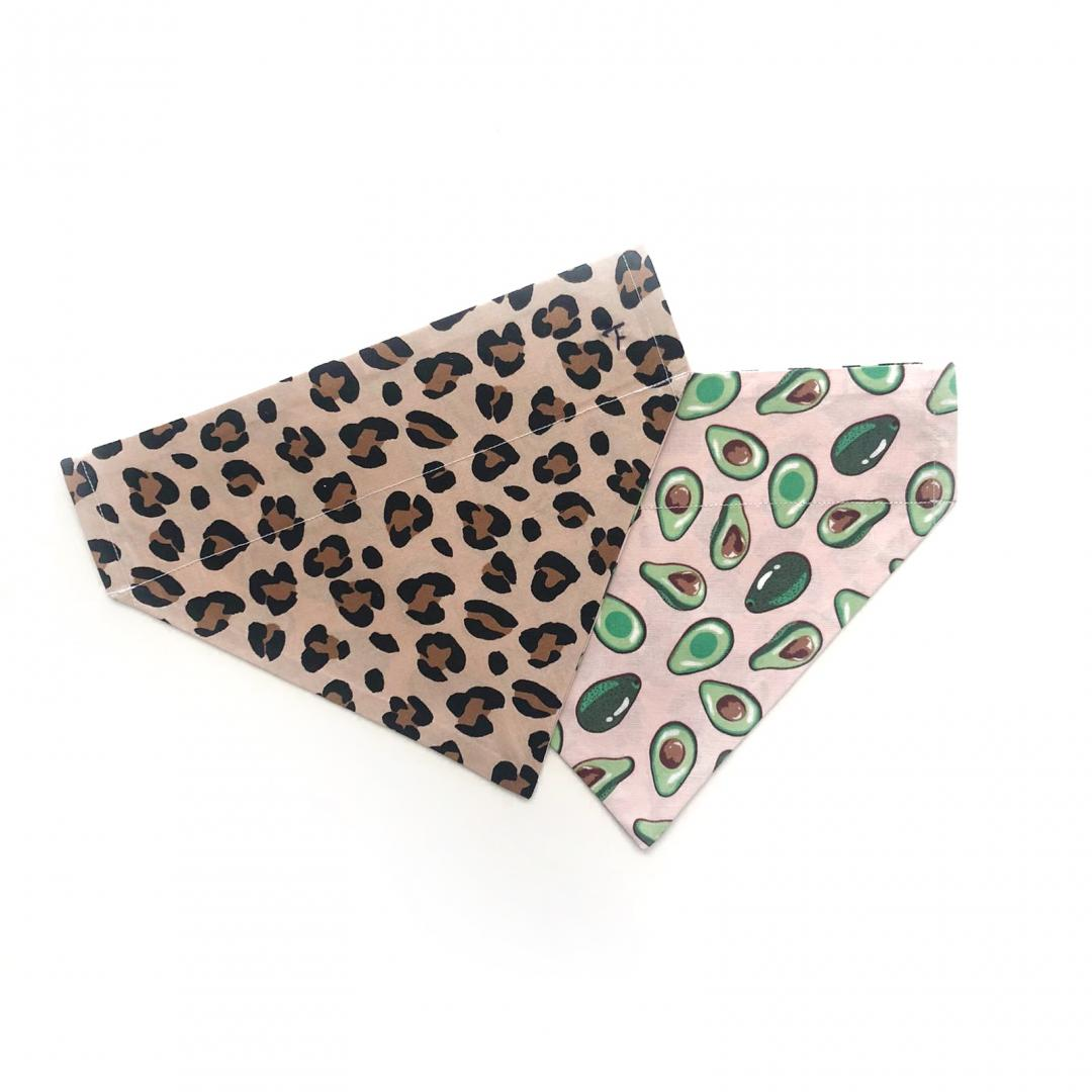 leopard print and avocados reversible dog bandana