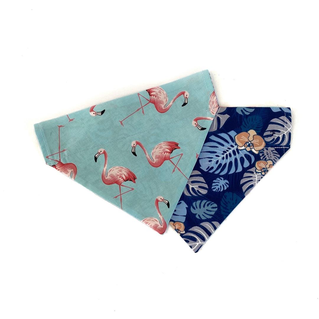 Flamingos + Blue Palms Bandana