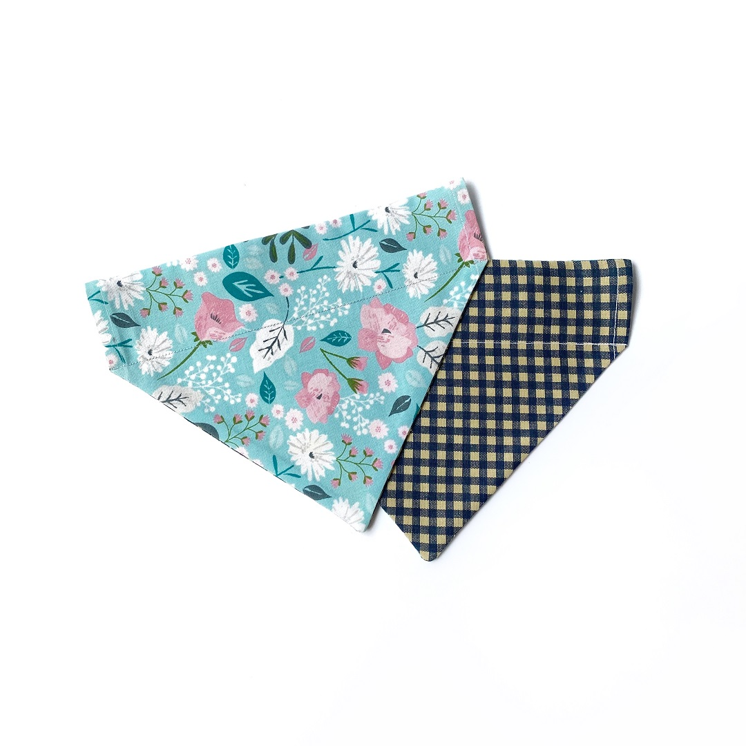 Little Posy + Navy Checkered bandana
