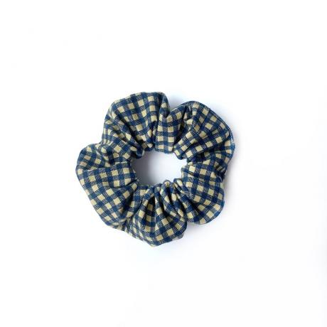 Navy Checkered Scrunchie