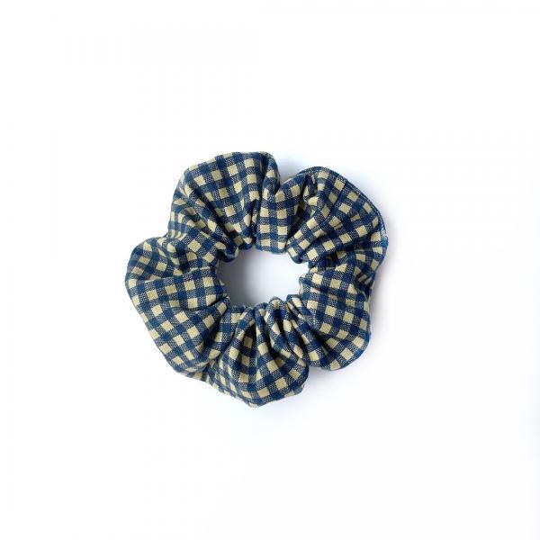 Navy Checkered Scrunchie