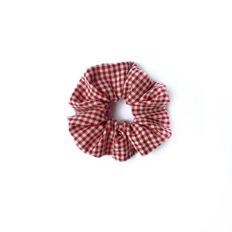 Red Checkered Scrunchie