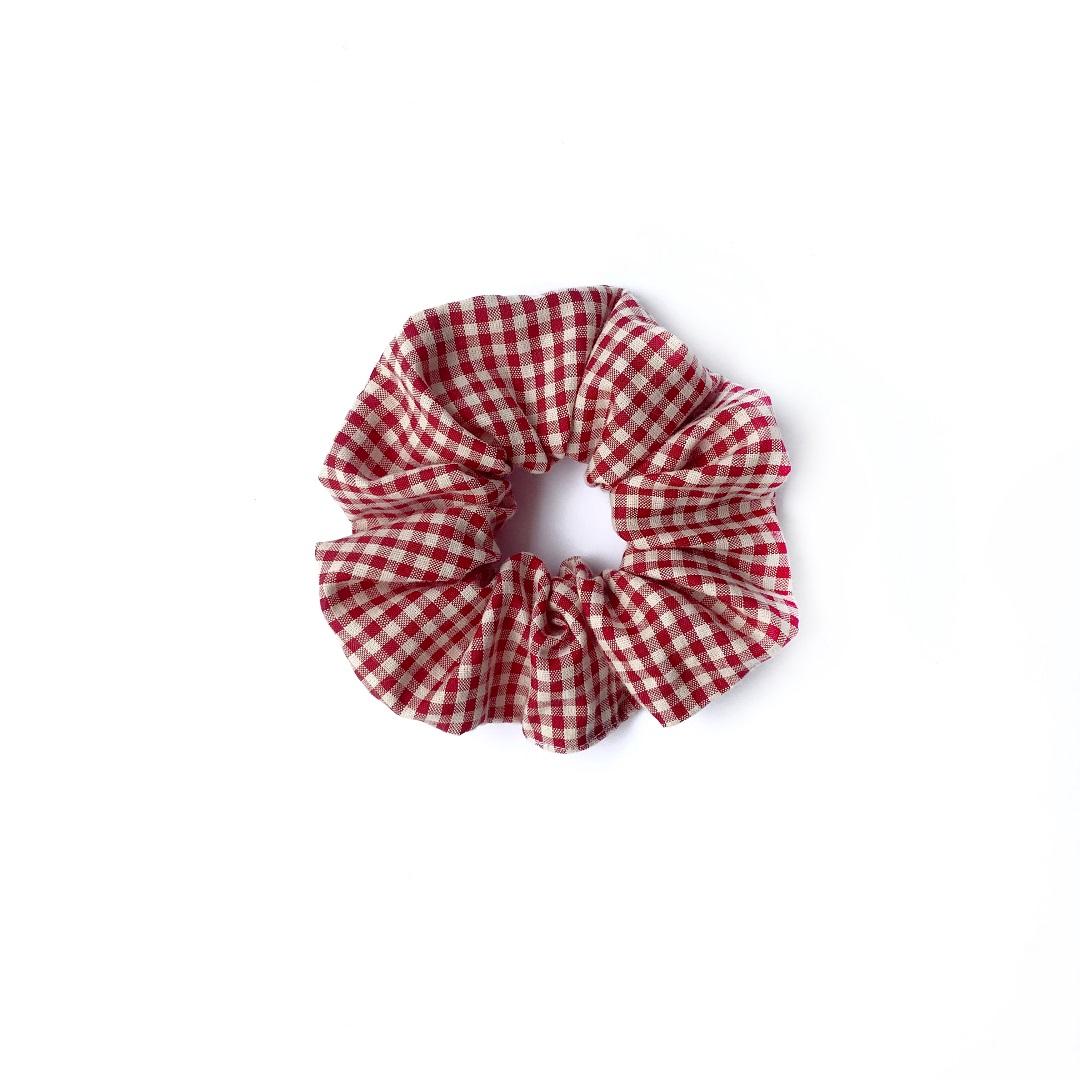 Red Checkered Scrunchie