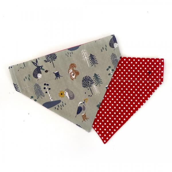 Woodland + Red Polka Reversible Dog Bandana