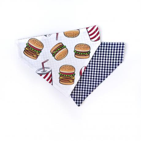 Burger + Blue Checkered Reversible Bandana